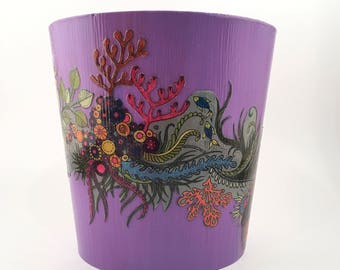 Handpainted and Decorated Wooden Vase/Container