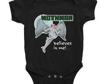 Mothman Believes in Me! Point Pleasant WV Infant Onesie Bodysuit