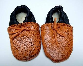 33-booties baby black Crackle orange leather