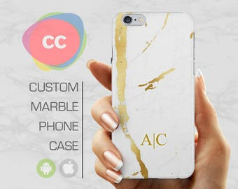 Custom Samsung S8 Marble Case / Gold Marble iPhone 6 Case / iPhone 7 Case / iPhone 6S, 5, 5S Case / Galaxy S7, S6 Case - PC-216