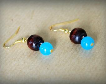 Blue & Wood Pearl Earrings