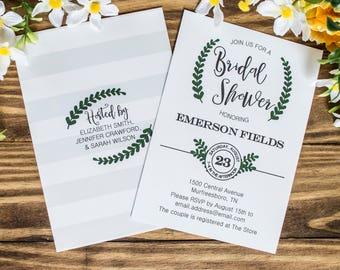 Laurel Wreath Bridal Shower Invitations   Southern Bridal Shower Invitations   Printed or Printable