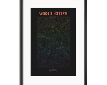 World City Series: Paris Rainbow Poster Digital File Map PDF