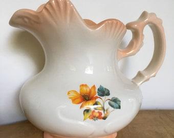 Mini pitcher. Peach, floral
