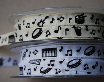 Printed Ribbon x2m white or ivory black musical instruments and notes