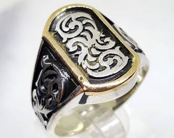 nice solid 925 sterling silver men ring middle eastern mens jewelry