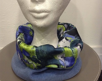snood scarf fleece and silk, Christmas gift woman