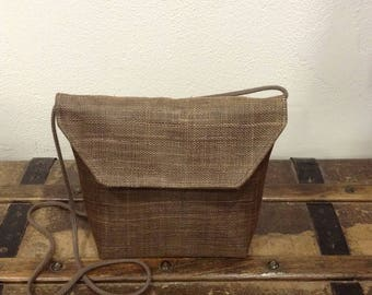 POUCH MADE OF SINAMAY TAUPE BROWN