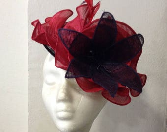Hat Red and purple sisal and banana fibre