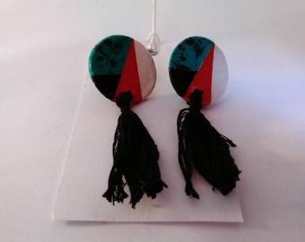 Geometric disc earrings with tassel