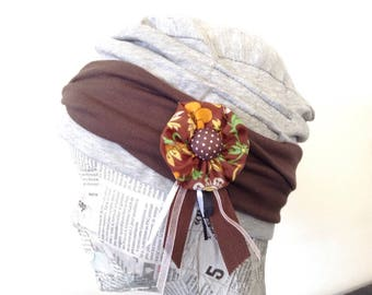 Jersey Hat gray and Brown Jersey headband, removable pin