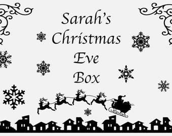 Christmas Eve Box Vinyl Decal Sticker   Christmas Eve Box Santa Sleigh Decal   Christmas Eve Box Present Decal   ChristmasEve Box Star Decal