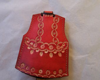 Handmade Leather Keychain, red flower, original and practical key pouch pattern