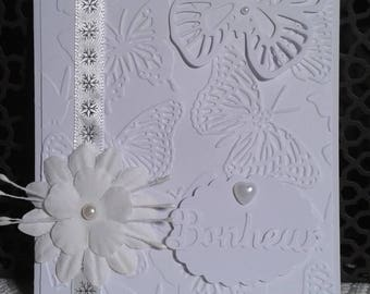 Congratulations wedding card white monochrome Butterfly