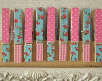 9 decorated linen (No. 23) Shabby - pink gingham clips