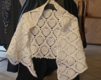 Shawl white shawl with pineapple crochet patterns