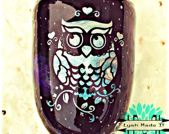 Owl Night Scene 10oz Stainless Steel Stemless HOGG tumbler with Closing lid