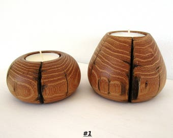 Candle holders made with acacia wood of Trentino, Italy. Gift for birthdays, marriages, home decoration. Ideal for relaxing atmosphere.