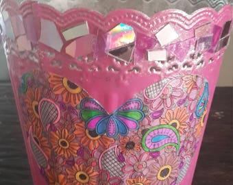 Repurposed metal pink vase