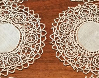 Small Delicate Ivory/ Cream Crocheted Doilies