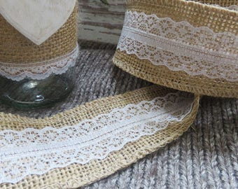 Wide ribbon in Burlap with lace 5 cm