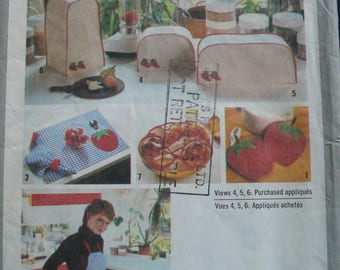Sewing Pattern for Kitchen decor including bunwarmer, pot holders, apron, appliance covers - Vintage Simplicity 9255