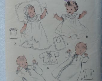 Baby's, Infant's Layette combination, Dress, Cap, Vintage Butterick 6425, One Size - Missing Pieces for Slip