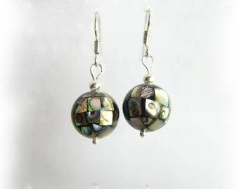 earrings with abalone shell bead