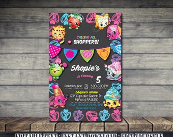 Shopkins Invitation,Shopkins Birthday,Shopkins Birthday Invitation,Shopkins Party,Shopkins Editable,Invitation Editable-SL37
