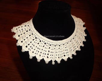 Handmade, Multipurpose, Crochet, Collar Necklace, with Pearls, Jewelry