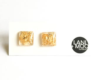 Square Clear Resin Stud Metallic Gold Leaf Statement Earrings!