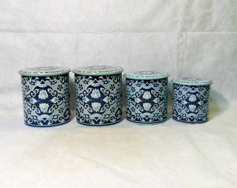 Vintage Delft Holland Blue Tin Canister Set Four Tins with Lids Kitchen Storage Container Biscuit Barrel Cookie Jar Retro Kitchen Décor