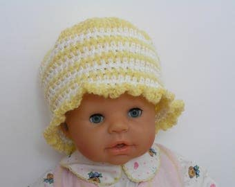 Crocheted striped baby wool hat