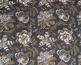 2.5 Yard Kantha Cotton Fabric, Kantha Quilt Fabric, Black Brown Floral Kantha Cotton Fabric, Kantha Floral Print Fabric for Bags, Quilting