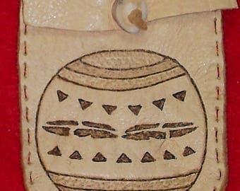 Native American Tan Buckskin Leather Medicine Bag W/ Burned Navajo Pottery