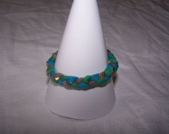 Bracelet made with jersey and nuts Golden, Brown, blue and green tones