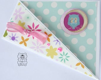 Folds for cards floral and polka dots, OWL greeting card