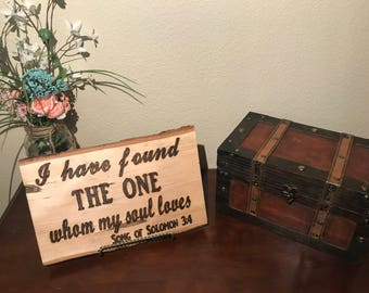 Handcrafted wood burned wedding sign