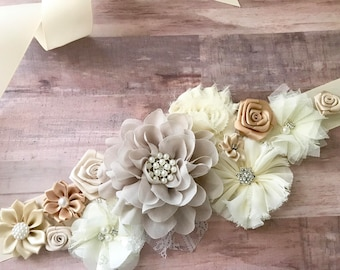 Cream White Flower Sash Pregnancy Sash Gender Reveal Party Baby Shower Gift Keepsake Flower Girl Sash Bridal sash