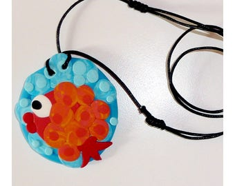'Fish, sea and the bubble' pendant on turquoise blue red