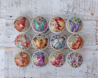 Colourful Butterfly Design Door Knobs Drawer Handles Dresser Pulls