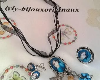 """Set """"Mermaid"""" blue cabochon and its charms"""