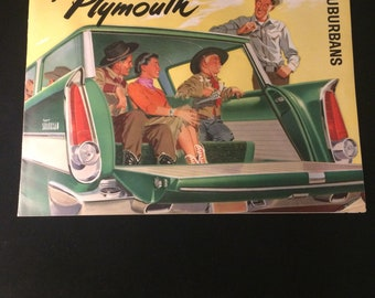 1956 Plymouth suburban dealership pressure-very nice mid century artwork throughout