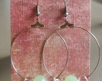 Cute green bead hoop earrings