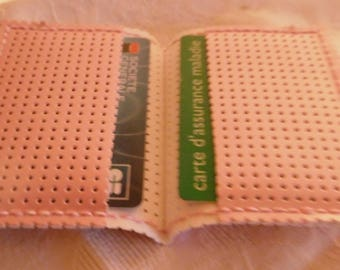 Pink lacquered perforated vinyl card holder