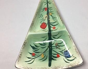 Vintage Christmas Tree Divided Dish Relish Tray Candy Dish