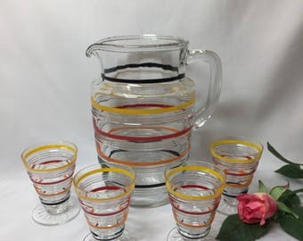 Anchor Hocking Banded Rings Pitcher and Footed Juice Glasses colored stripes- set of 5