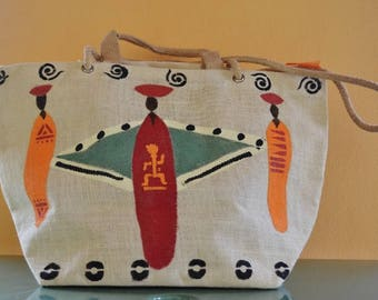 Handpainted handbag or shoulderbag in ethnic style