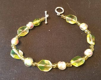 Lamp work glass flower beads bracelet about 9 inches long