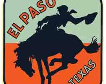 Vintage Style El Paso Texas  rodeo  Travel Decal sticker